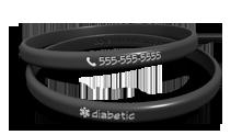 Thin Diabetic Medical Bracelet (black)
