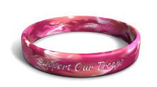 Support Our Troops Color-Fill Pink Camo Wristband