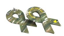 Support Our Troops Camo Ribbon Pin