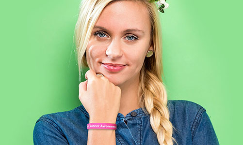 Girl wearing a silicone bracelet