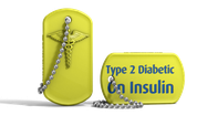 Yellow Medical Alert Type 2 Diabetic Dog Tag Keychain.png